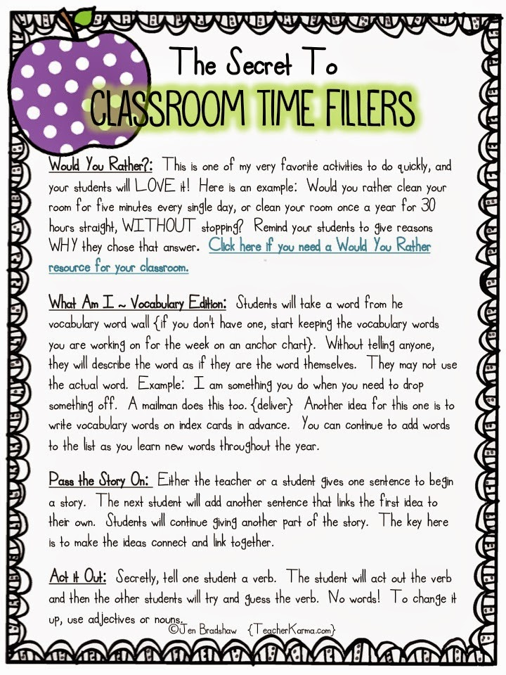 Classroom time fillers for your classroom.  TeacherKarma.com