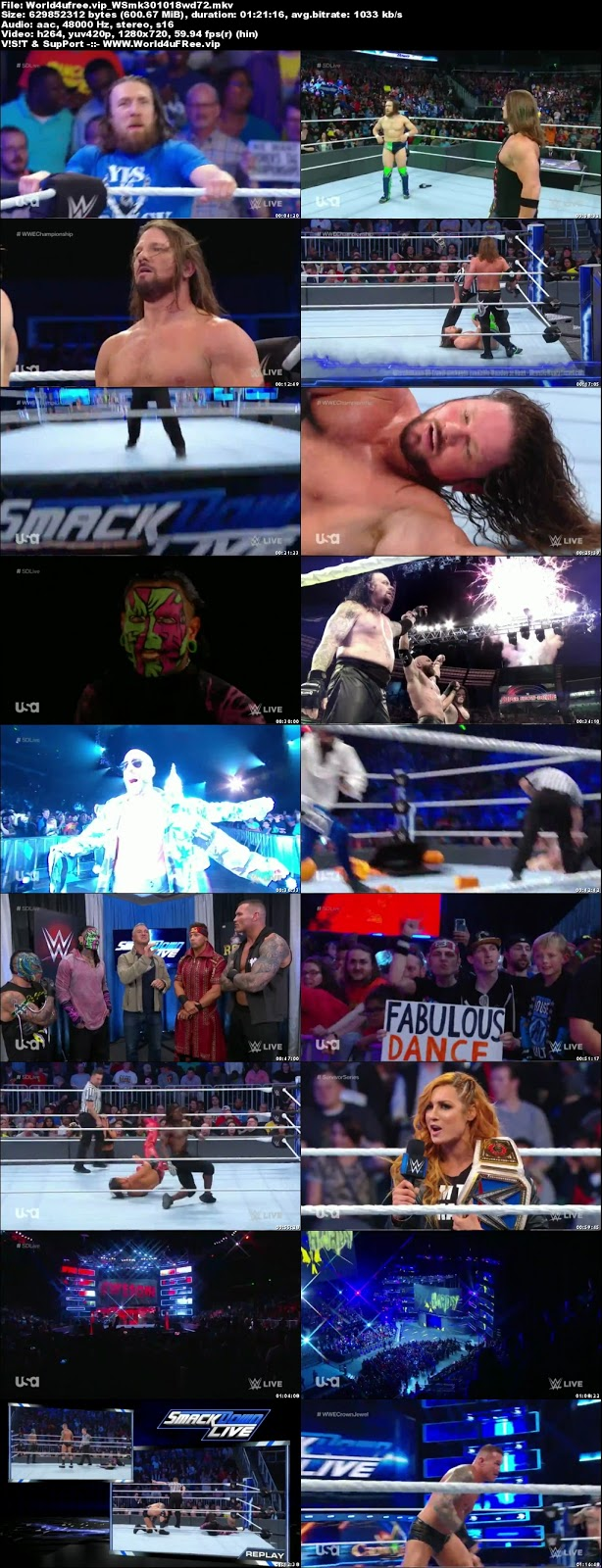 WWE Smackdown Live 30 OCTOBER 2018 720p HDTV 600MB x264 tv show wwe WWE Smackdown Live 23 OCTOBER 2018 HDTV 480p 650MB x264 compressed small size free download or watch online at world4ufree.vip