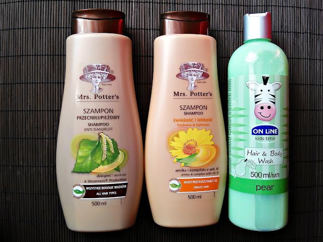 HAUL kosmetyczny - Kosmetyki do pielegnacji włosów z Biedronki, szampony do włosów Mrs. Potter's