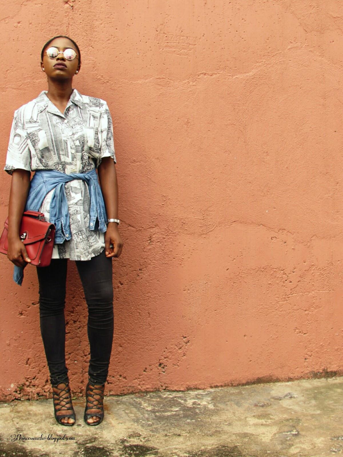 Denim shirt, vintage, red satchel