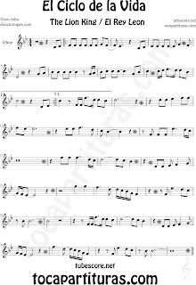 Partitura de El Ciclo de la Vida de Oboe. Partitura de Oboe de El Rey León. Circle of life OBoe music scores, Oboe sheet music for The Lion King