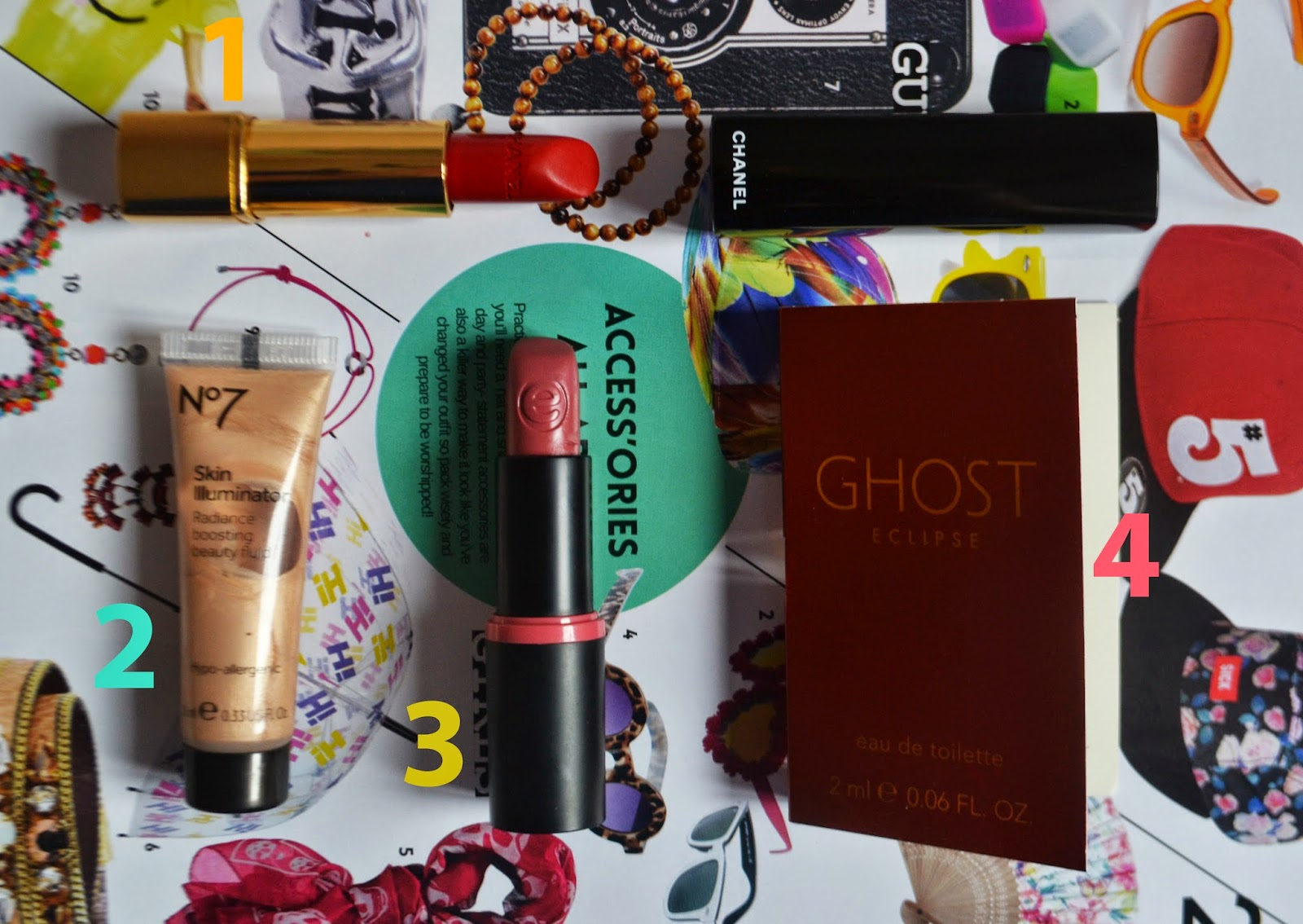 a flatlay photograph of my favourite beauty products throughout August