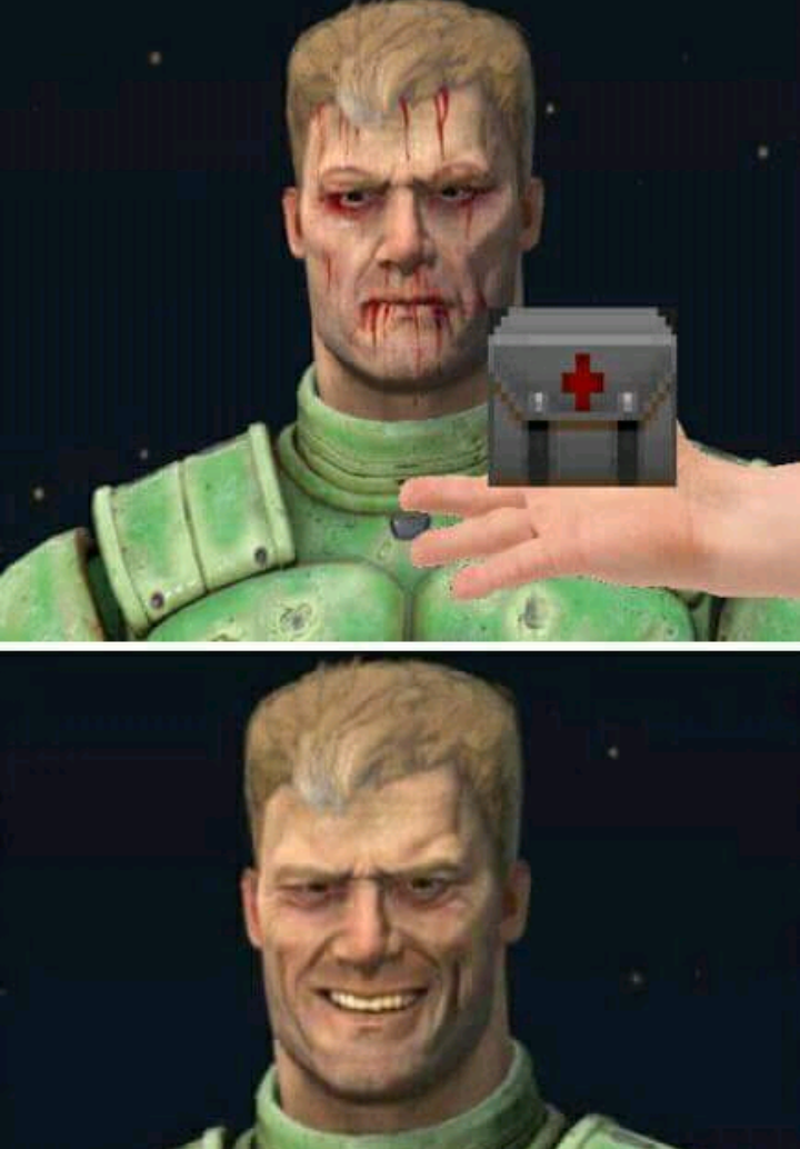 Doomguy reacts to medikit