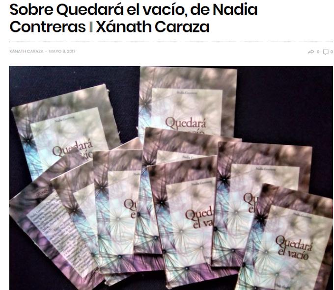 Sobre Quedará el vacío, de Nadia Contreras | Xánath Caraza,