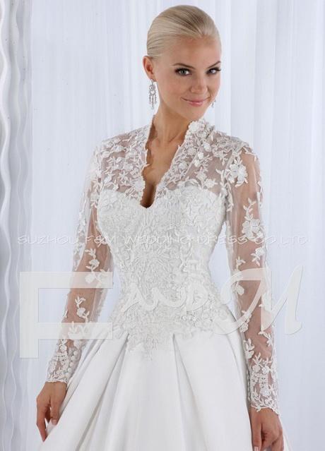Vestido de novia manga larga con encaje