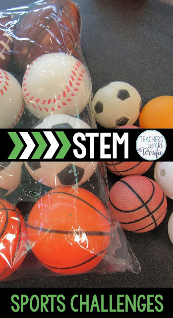 STEM Sports Challenges! Three events using football, basketball, and soccer. Such fun!