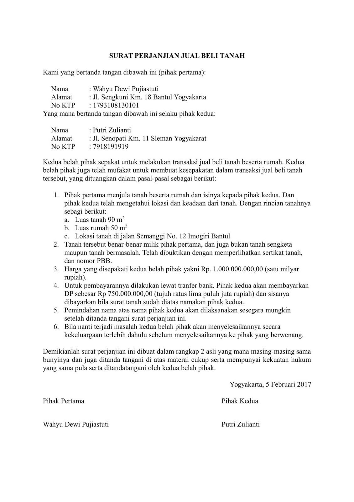 contoh surat jual beli tanah pdf