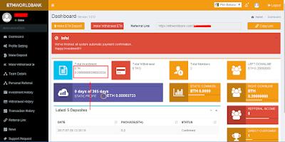 Dapatkan Bonus 0.2 Ethereum Gratis Untuk Investasi dengan mendaftar EthWorldbank