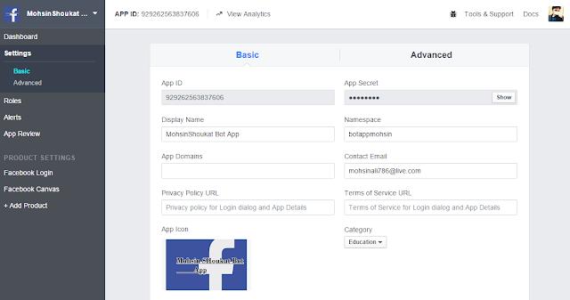 botapplication on facebook
