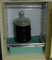 My fermentation fridge, before I removed the shelf.
