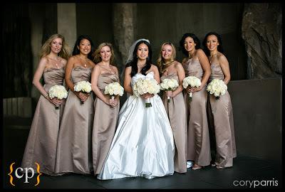 Vendella roses, cream wedding party flowers, brides maids flowers
