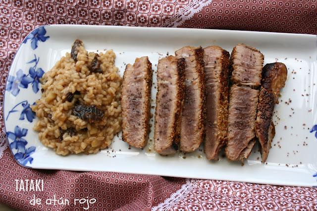 Tataki de atún rojo,arroz cremoso de manzana