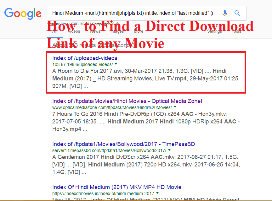 Instructions to Find Direct Download Link of Any Movie 2017 - AD