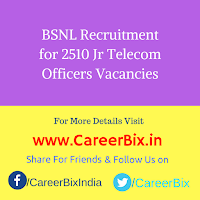 BSNL Recruitment for 2510 Jr Telecom Officers Vacancies
