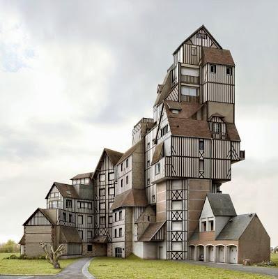 Fotomontaje de casas una sobre otra