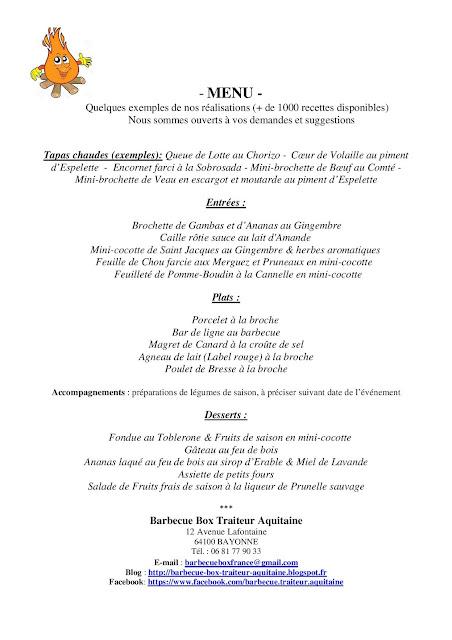 Menu traiteur Pyrénées-Atlantiques - menu traiteur Landes - menu traiteur Gironde 33
