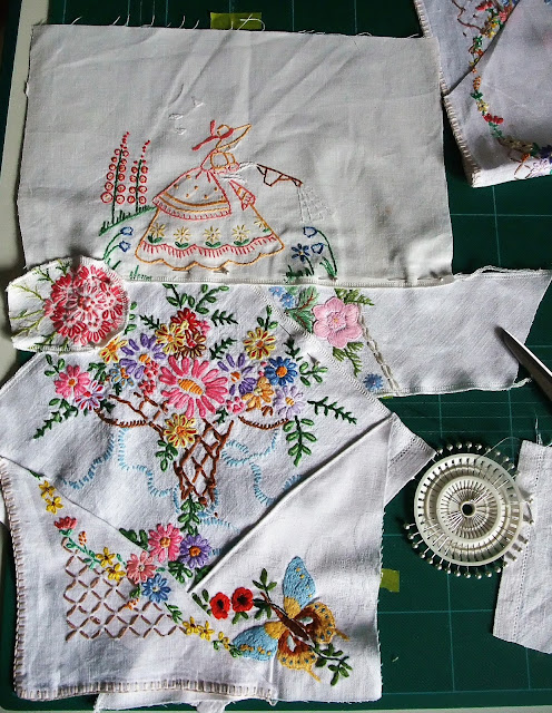 embroidered vintage linen patchwork by karen vallerius