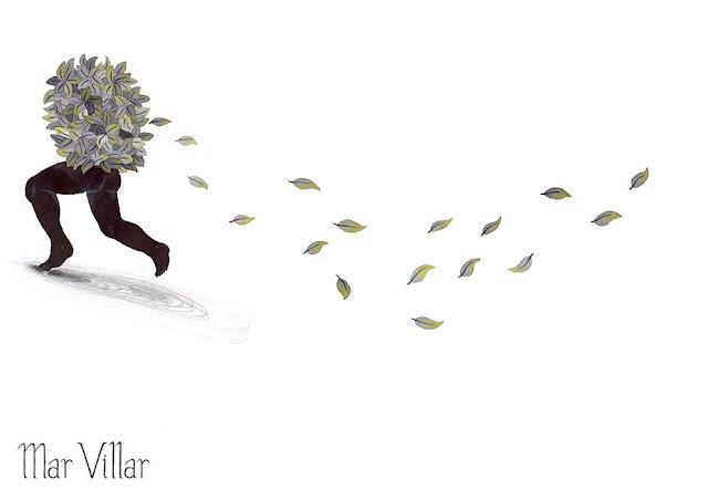 Inktober, Inktober 2016, plantas, ficus, ilustración a tinta, huida, correr, silueta humana, tinta, aguada de tinta, quink, tinta parker