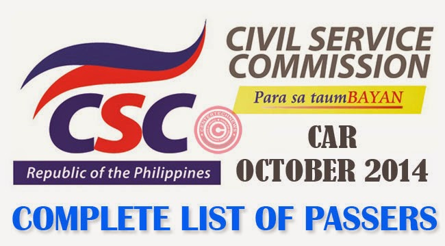 CAR Civil Service Exam Results October 2014- Paper and Pencil Test List of Passers