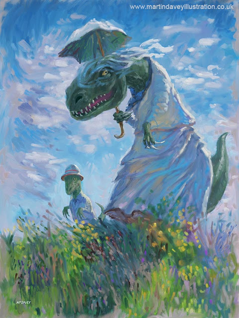 M P Davey T Rex with son and parasol illustration