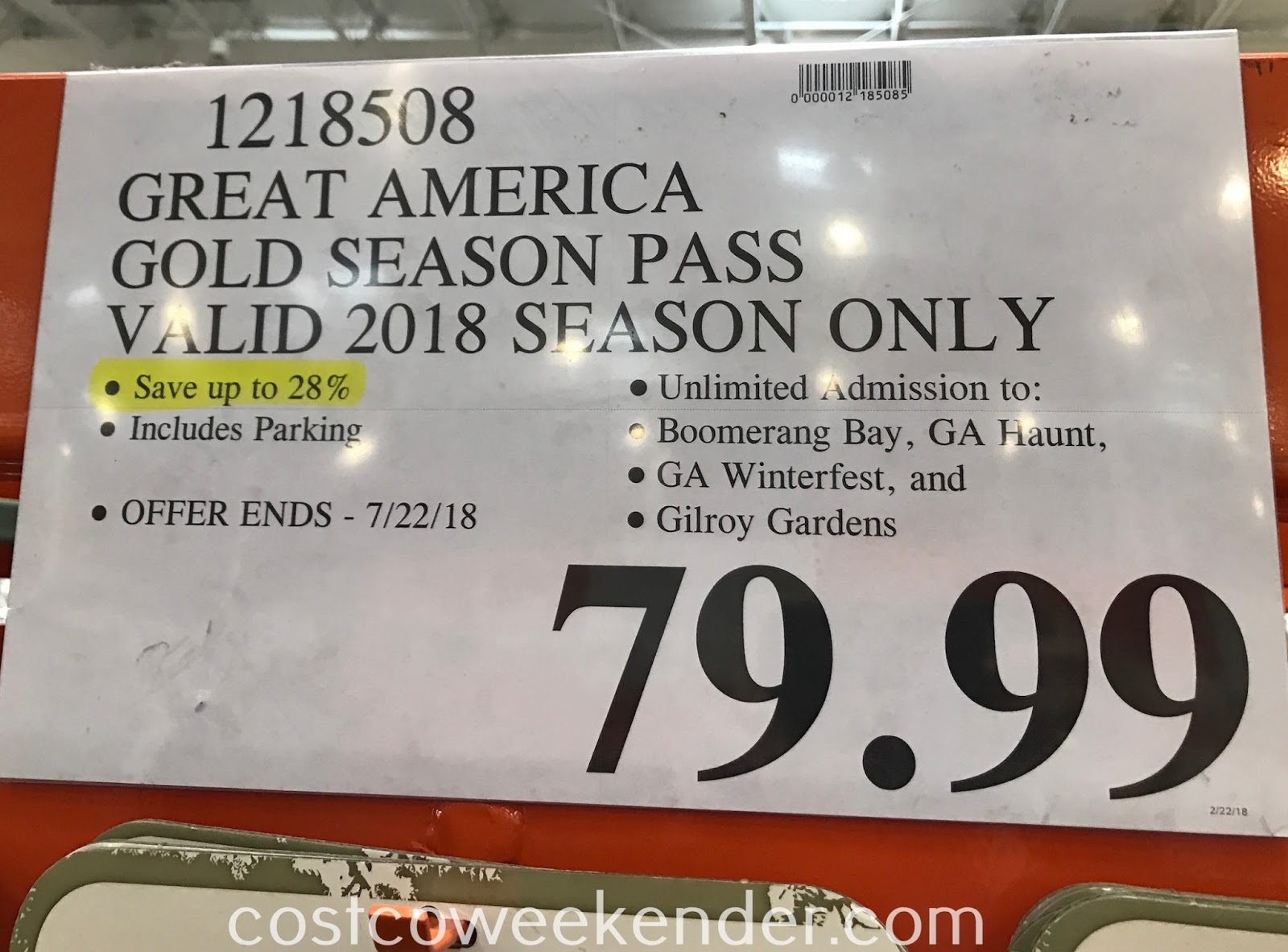 Deal for the 2018 Great America Gold Season Pass at Costco