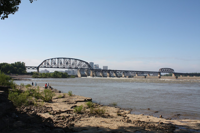 View of Louisville across Ohio River from Falls of the Ohio