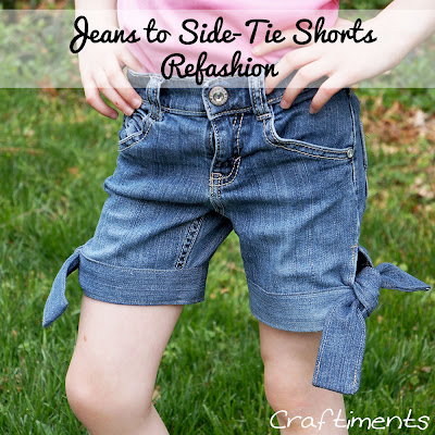Craftiments:  Learn how to refashion a pair of jeans into side-tie or knot shorts.