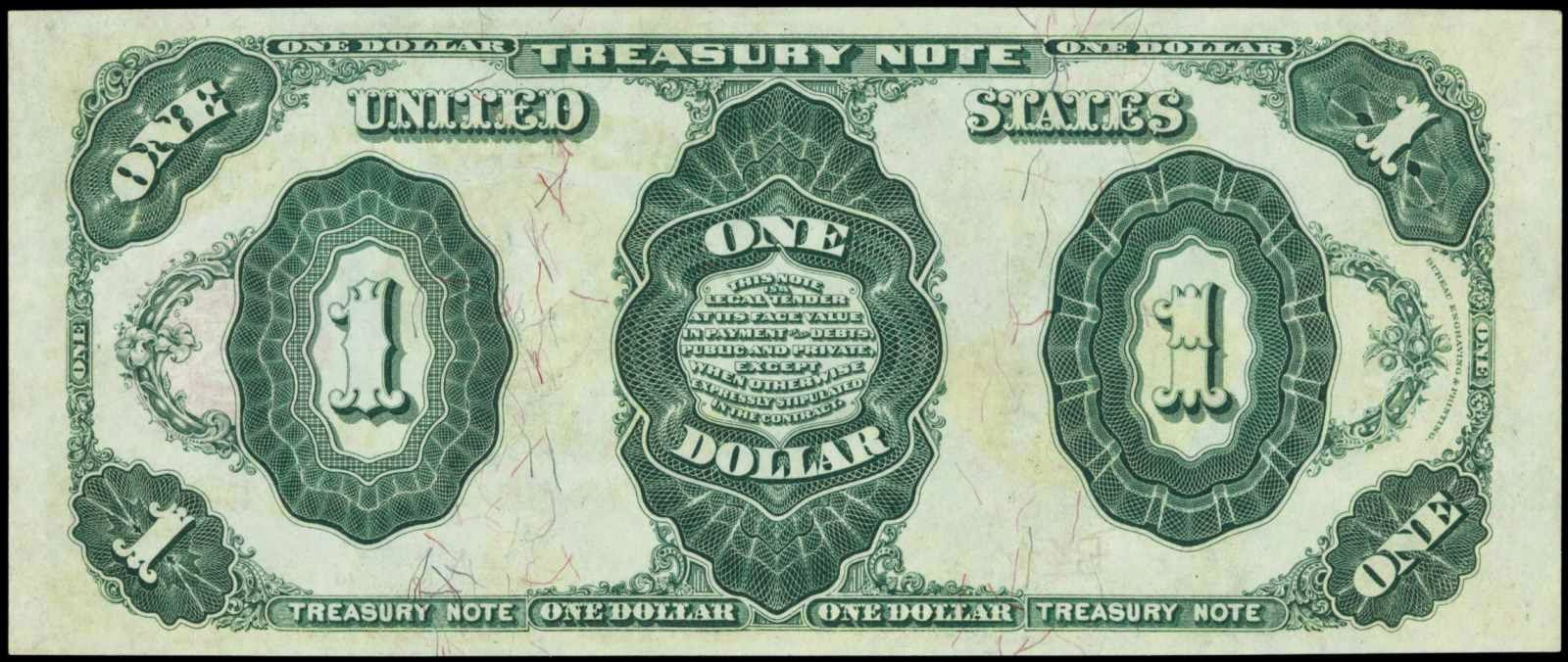 Old US Paper Money 1891 1 Dollar Treasury Note