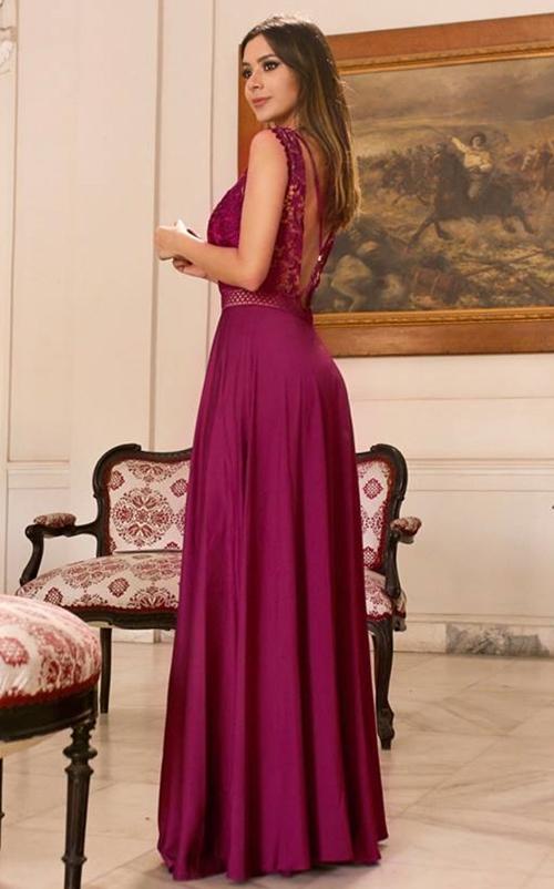 vestido de festa uva fucsia