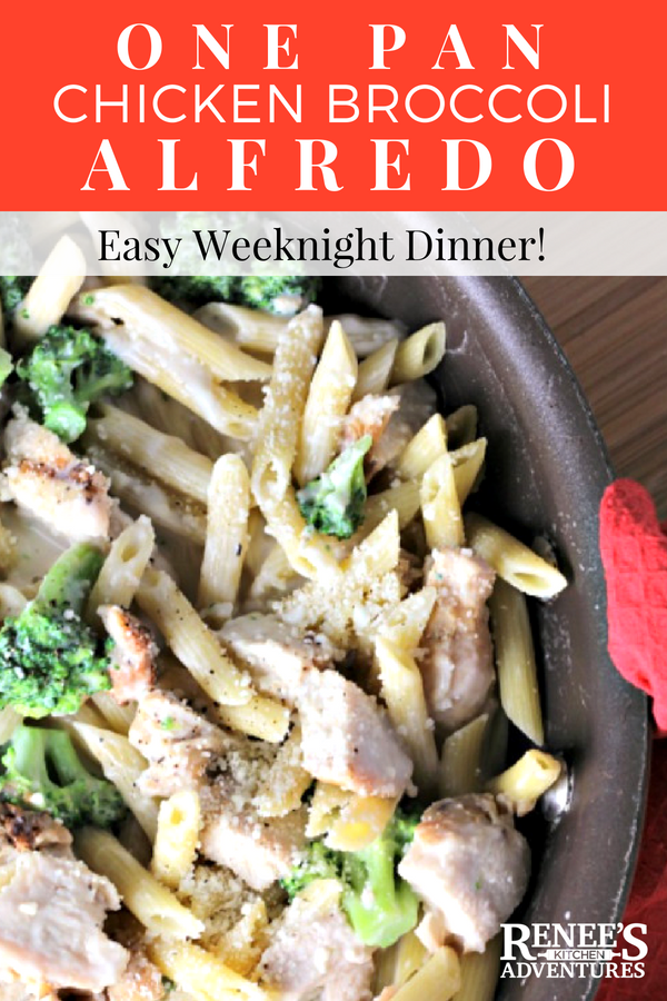 One Pan Chicken Broccoli Alfredo | by Renee's Kitchen Adventures - quick and easy healthy recipe full of chicken, pasta, and broccoli in a cheesy sauce great for a weeknight dinner done in about 10 minutes from start to finish!