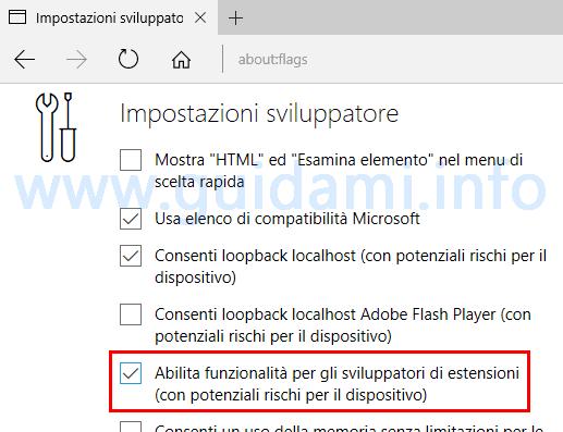 Impostazioni sviluppatore Microsoft Edge