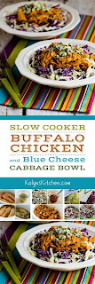 Slow Cooker Buffalo Chicken and Blue Cheese Cabbage Bowl found on KalynsKitchen.com