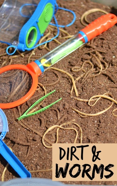 "Digging for ""worms"" - this activity takes a minute to throw together & my kids couldn't stop giggling.  You will never believe what we used for our worms"