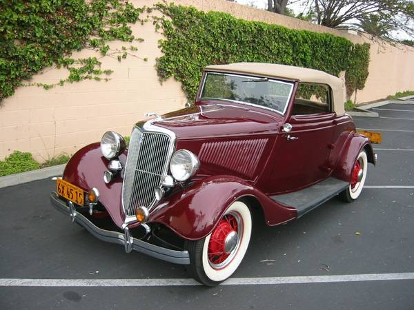 Restored To Original, 1934 Ford Deluxe Cabriolet