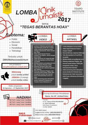 Lomba Artikel Klinik Jurnalistik 2017 | Univ. Indonesia | SMA - Mahasiswa - Umum