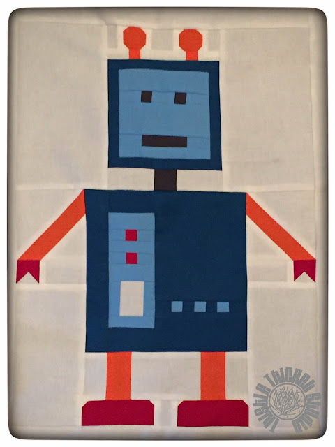 """Robots All In A Row"" Blue Robot by Thistle Thicket Studio. www.thistlethicketstudio.com"