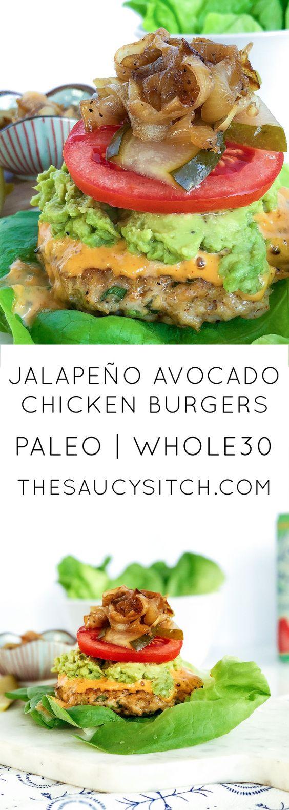 Jalapeno Avocado Chicken Burgers
