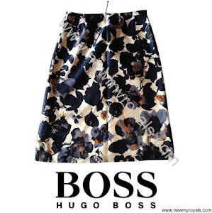 Princess Mary wore Hugo Boss floral navy blue skirt