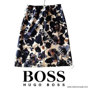 Princess Mary wore Hugo Boss floral navy blue skirt