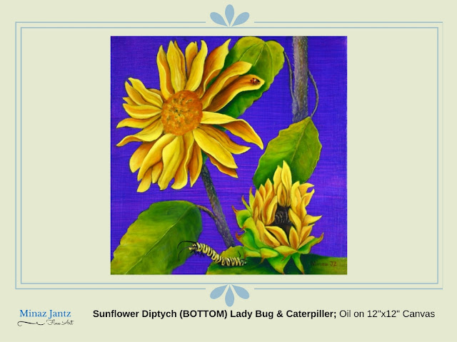 "Sunflower Diptych (Bottom) Ladybug & Caterpiller; Oil on 12""x12"" Canvas by Minaz Jantz"