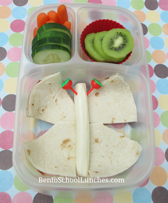 Butterfly, quesadilla bento school lunch