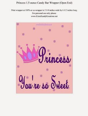 Princess Candy Bar Wrapper
