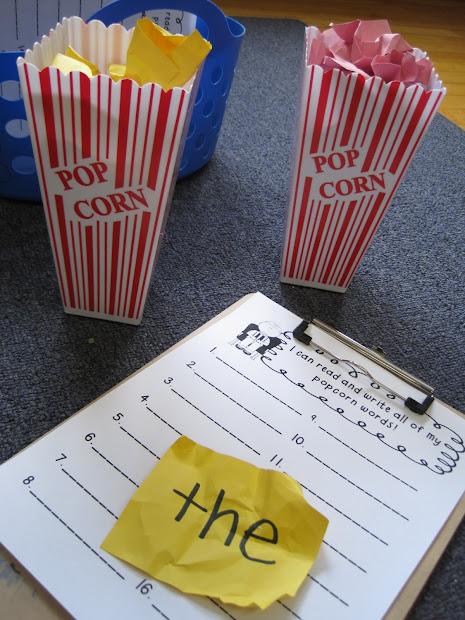 Printable Popcorn Cutouts Sight Words - imgUrl