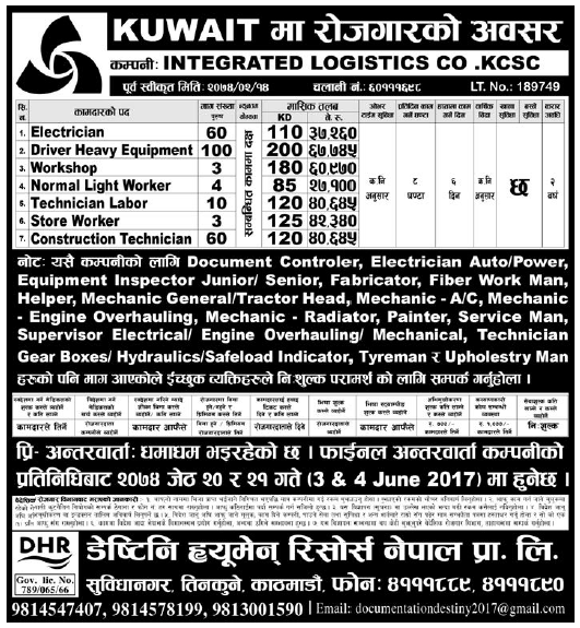 Jobs in Kuwait for Nepali, Salary Rs 67,745