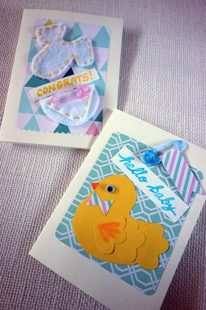 greeting cards,plastic safety pins,rubber ducky,handmade cards,watercolor,paper crafts,baby shower,uses for scrapbook paper,baby,blah to TADA,felt diaper,felt onesie,