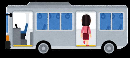 バスに乗る人のイラスト(女性・後ろのドア)