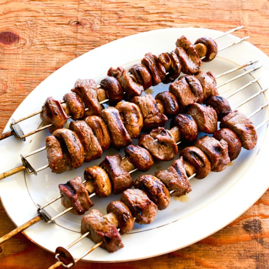 Steak and Mushroom Kabobs found on KalynsKitchen.com