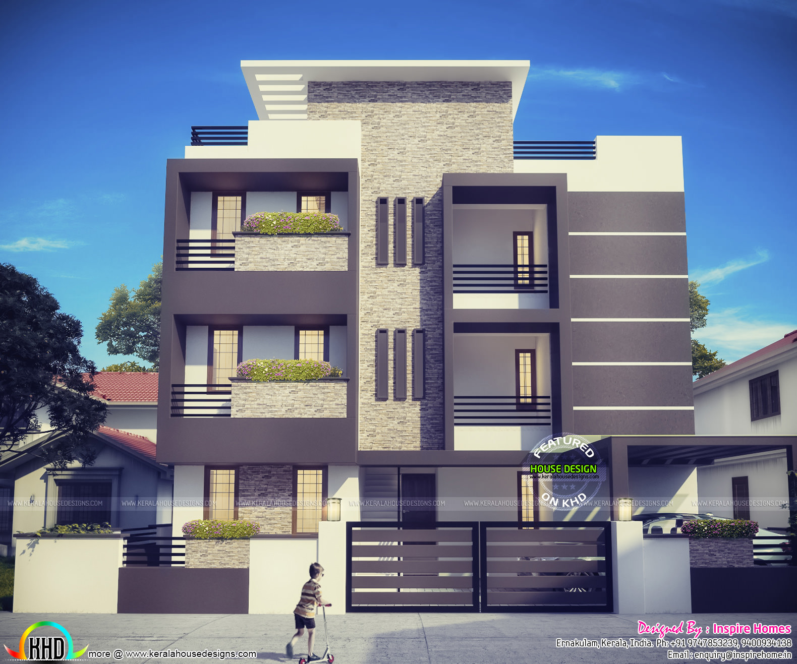 Contemporary three storied residential building kerala for Kerala building elevation
