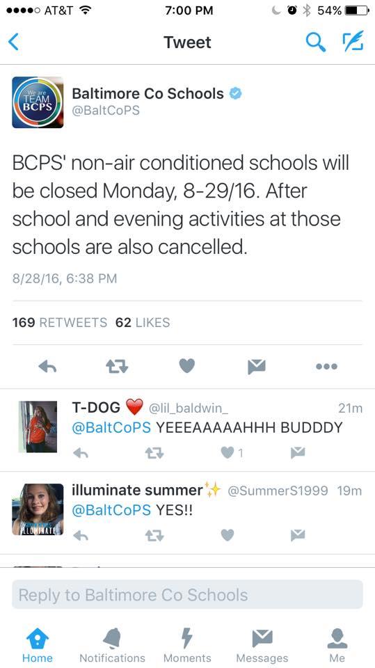 is baltimore county schools open today