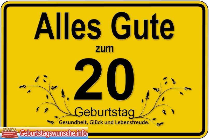 Alles Gute Zum 20 Geburtstag Geburtstagssprüche 20 Geburtstag